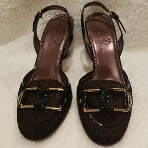 Cole Haan heels, burgundy/black w/ gold buckle